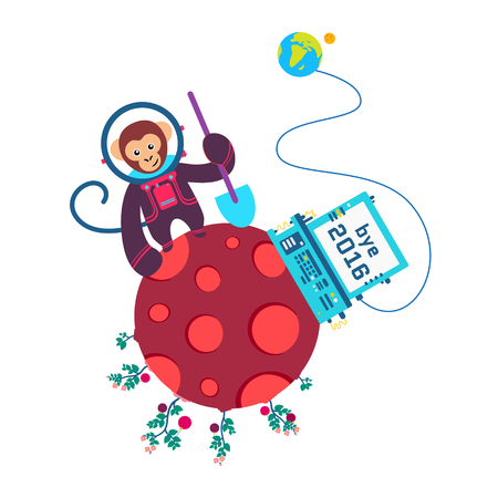 Funny greeting card Bye Old Year 2016. Vector illustration with monkey on red planet. Round On white backgrond. Stok Fotoğraf