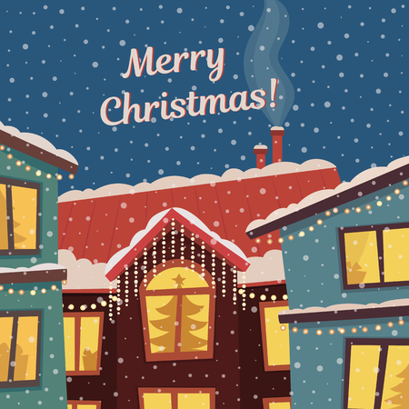 Merry Christmas card in subdued retro colors. Winter town and snowfall. Vector illustration.