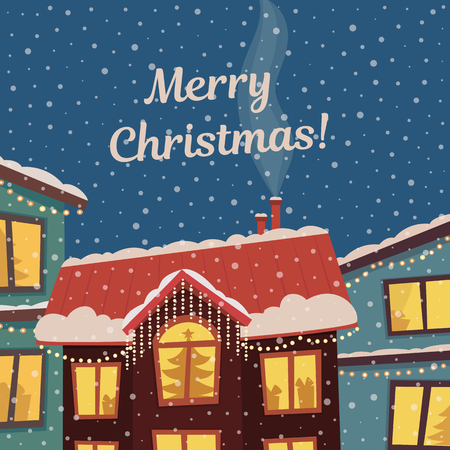 Merry Christmas vector card in subdued retro colors. Winter town in christmas lights and snowfall. Flat illustration. Çizim