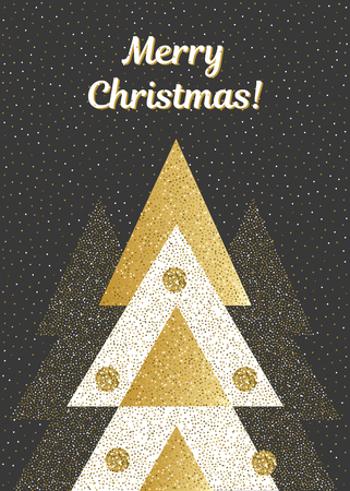 Vector Merry Christmas card with geometric fir trees. In black, white and gold colors. Vertical illustration.