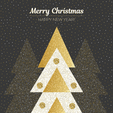 Vector merry Christmas and happy New Year design. Square card with Christmas trees in black, gold and white colors. Geometrical illustration.
