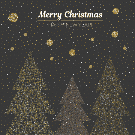 Vector illustration gold dotted christmas trees. Holiday background. Merry Christmas and Happy New Year Square card.