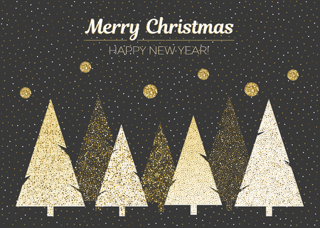 Vector merry Christmas and happy New Year design. Horizontal card with Christmas trees in black, gold and white colors. Geometrical illustration.