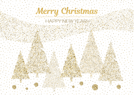 Vector merry Christmas and happy New Year design. Horizontal card with Christmas trees gold and white colors. Geometrical illustration.