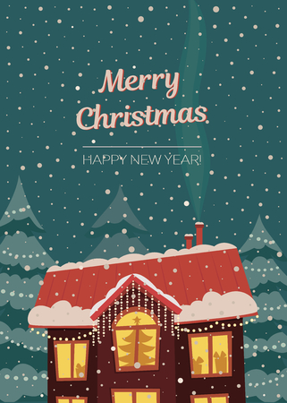 Merry Christmas vector card in subdued retro colors. House cowerd with snow in christmas lights and snowfall. Vertical orienation.