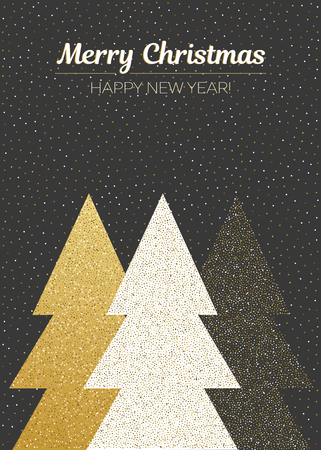 Vector merry Christmas and happy New Year design. Vertical card with Christmas trees in gold and white colors on blackboard.Geometrical illustration.