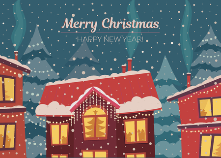 Merry Christmas and happy New Year vector horizontal card in subdued retro colors. Winter town in christmas lights and snowfall. Flat illustration.