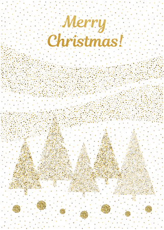 Vector merry Christmas and happy New Year design. Vertical card with Christmas trees in gold and white. Geometrical illustration.