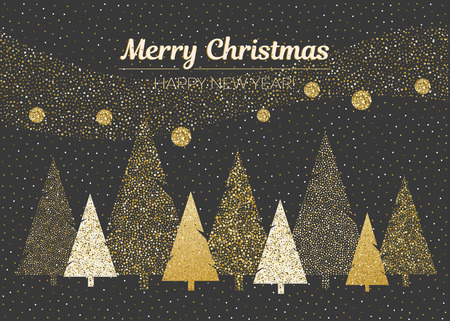 Vector merry Christmas and happy New Year design. Horizontal card with dotted Christmas trees in black, gold and white colors. Geometrical illustration.