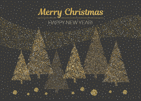 Vector merry Christmas and happy New Year design. Horizontal card with dotted Christmas trees in black and gold colors. Dotted illustration. Çizim