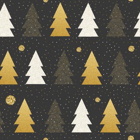 Vector Seamless Christmas and New Year patterns on blackboard. Styliesed snowballs and christmas trees in black, white and gold colors. For decorative paper, textile, etc