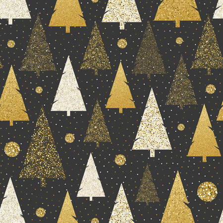 Vector Seamless Christmas patterns on blackboard. Styliesed snowballs and christmas trees in black, white and gold colors. For decorative paper, textile, etc