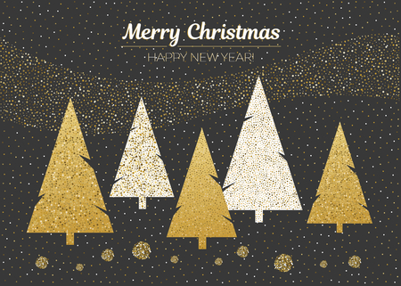 Vector merry Christmas and happy New Year design. Horizontal card with Christmas trees on black background. Gold gradirnt.Geometrical illustration.