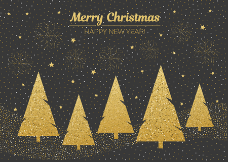 Vector merry Christmas and happy New Year design. Horizontal card with golden Christmas trees in blackboard.Geometrical illustration.