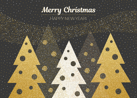 Vector merry Christmas and happy New Year design. Horizontal card with Christmas trees with christmas balls. Black gold and white colors. Geometrical illustration.