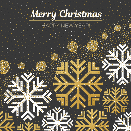 Merry Christmas and Happy New Year gold glitter design. Christmas greeting card, poster, banner. Vector golden glittering snow, snowflakes on black background.