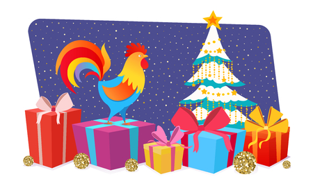 Cute colorful cartoon rooster, symbol 2017 year by eastern calendar with a many gifts. Christmas and New Year Greeting card design. Vector horizontal illustration.