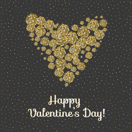 Heart made of sparkling confetti on black background. Happy valentines day card template. Vector illustration. Çizim