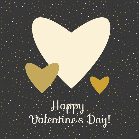 Three vector hearts in gold colors on black background. Happy valentines day card template Çizim