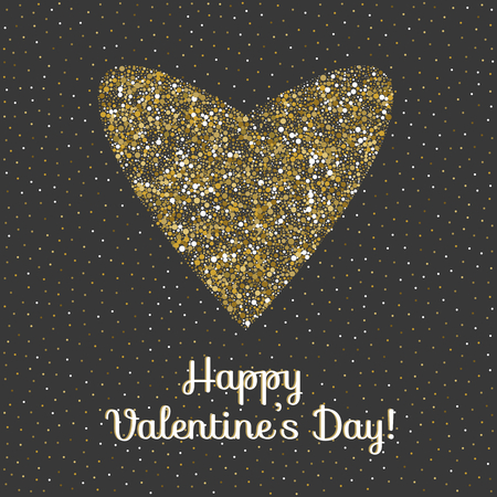 Heart made of sparkling confetti on blackboard. Happy valentines day card template. Vector illustration.