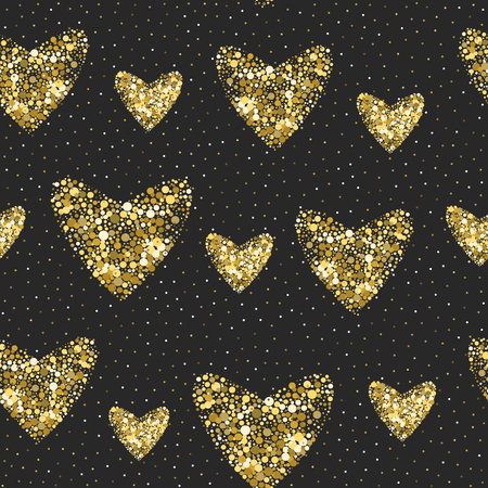 Seamless hearts pattern. holiday Valentine in gold colors on black.