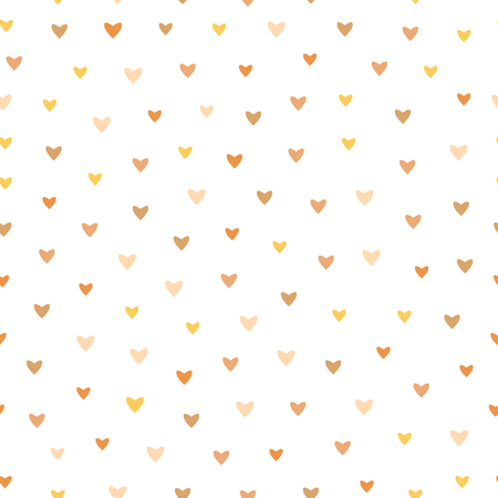 Pale Color Heart Vector Pattern On White Background - Cute pattern with small hearts in soft pale shades of brown, yellow, pink, seamless vector background. Çizim