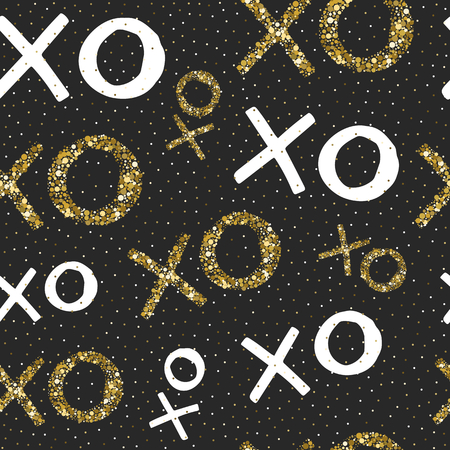 Vector valentines seamless pattern with hand drawn words XOXO. Black background with gold and white elements.