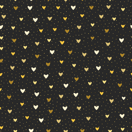 Seamless vector pattern. Holiday Valentine background with small gold and white hearts on blackboard.