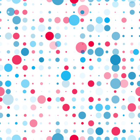 A Vector seamless pattern with different size polka dots in blue and red colors on white background. Backdrop for scrap booking, textile, cards. Fun repeating texture. Çizim