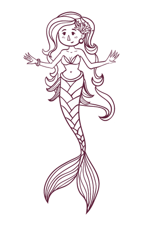 Cute doodle sea mermaid. Vector hand drawn girl mermaid. Black and white colors. Isolated. Coloring page for children and adult. Stok Fotoğraf - 76230715