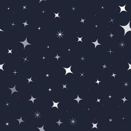 Vector seamless pattern on dark backgrond. Different shape stars. Texture in grey shades with little red dots. For fabric, decorative paper, web backdrop.