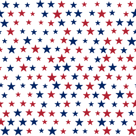 Background with red and blue stars in the American flag theme. Stock vector.