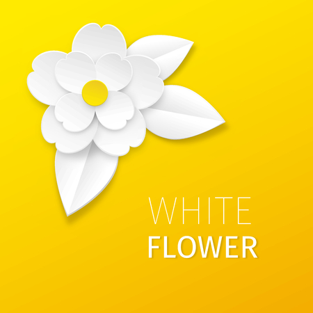 White cutout paper flower and leaves on yellow background. Vector greeting or ad card.