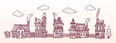 手描き下ろし通りヨーロッパの居心地の良い家。ベクター バナー。水平型の図。