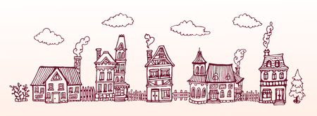 Hand drawn street with cozy european houses. Vector banner. Horizontal vintage Illustration. Çizim