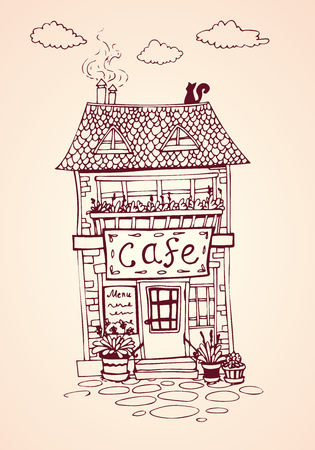 Cozy vintage street cafe house. European architecture. Hand drawn Vector Illustration. For print and decoration. Çizim