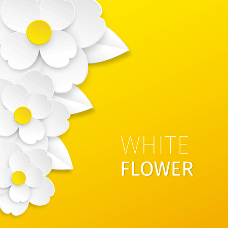 Three white cutout paper flowers with leaves on bright yellow background. Vector cheerful greeting card. Stok Fotoğraf