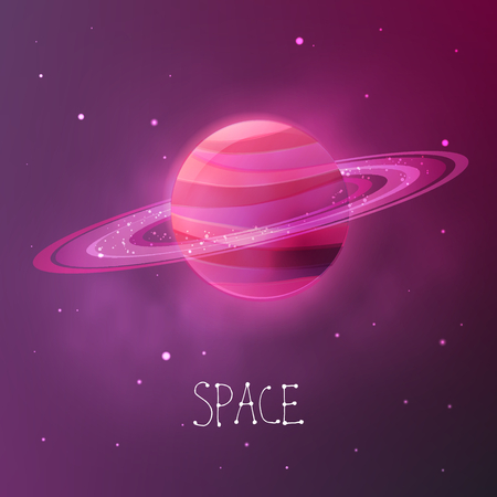 Bright colorful planet with planetary rings. Space vector illustration in modern contemporary design. For card, banner, cover. Çizim