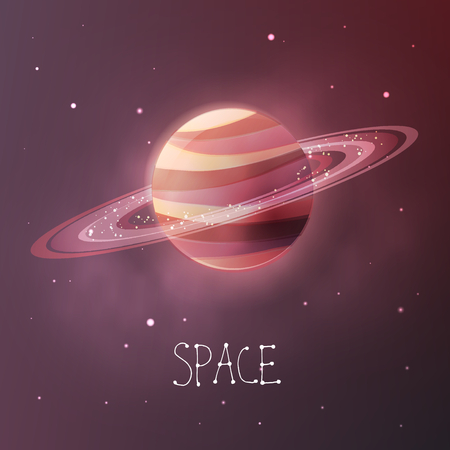 Planet with planetary rings in dull colors. Space vector illustration in modern contemporary design. For card, banner, cover. Çizim
