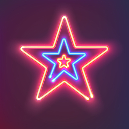 Three shining neon stars. Mysterious bright sign board for your design. Vector illustration. Çizim