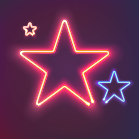 Two shining neon stars with warm and cold light. Bright colorful sign board for your design. Vector illustration.