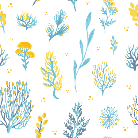Vector hand drawn wild plants seamless pattern. Field plants illustration in blue and yellow colors. Çizim