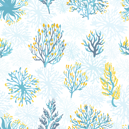 Vector hand drawn wild plants seamless pattern. . Desert dry plants illustration in blue and yellow colors. Çizim
