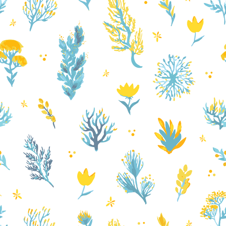 Vector hand drawn wild plants seamless pattern. Field plants illustration in blue and yellow colors for textile, scrapbooking, backdrop.