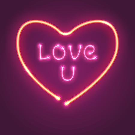 Neon heart sign. Love u vector eps 10 illustration. Retro signboard. Çizim