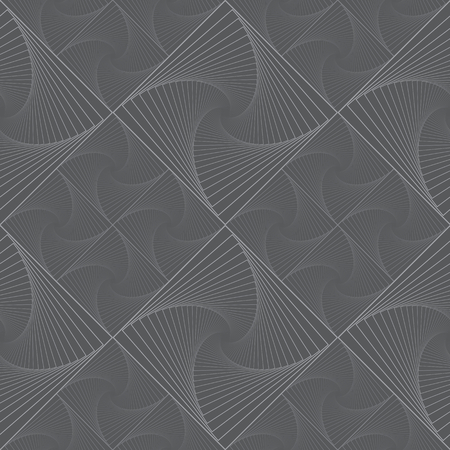 Dark vector seamless monochrome pattern with grid of twirly, spiral tiles for backdrop. Çizim