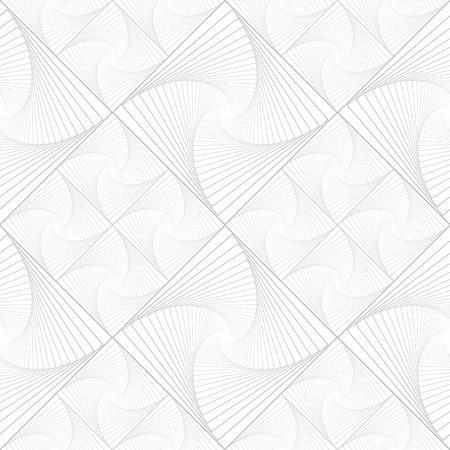 Light vector seamless monochrome pattern with grid of twirly, spiral tiles for backdrop.