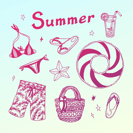 Summer beach party doodle set. Vector hand drawn illustration on light gradient background for your design.