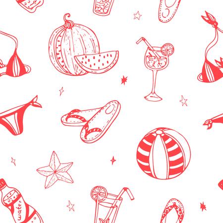 Vector seamless pattern. Summer hand drawn doodles Seasonal texture for scrapbooking, textile etc.