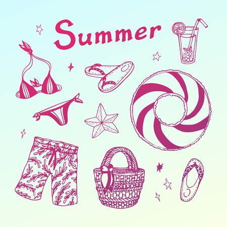 Summer beach party doodle set. Stok Fotoğraf - 77745919